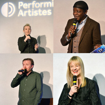 Clockwise from top left: Eleanor Tiernan, Stephen K Amos, Tania Edwards and Chris McCausland