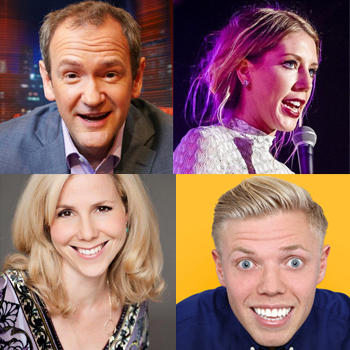 Clockwise from top left: Alexander Armstrong, Katherine Ryan, Rob Beckett and Sally Philips