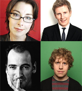 Clockwise from top left: Sue Perkins, Patrick Kielty, Josh Widdicombe and Alistair McGowan
