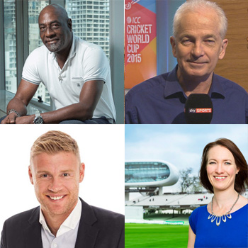 Clockwise from top left: Viv Richards, David Gower, Alison Mitchell and Freddie Flintoff