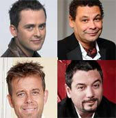 Clockwise from top left: Scott Mills, Craig Charles, Huey Morgan and Pat Sharpe