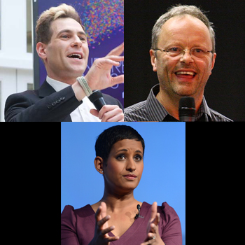 Clockwise from top left: Lee Nelson, Robert Llewelyn and Naga Munchetty