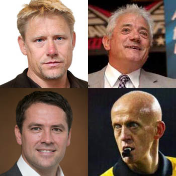 Clockwise from Top Left: Michael Schmeichel, Kevin Keegan, Michael Owen, Pierluigi Collina
