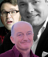 Clockwise from top left: Jarred Christmas, Giles Smith Walker and Oz Clarke